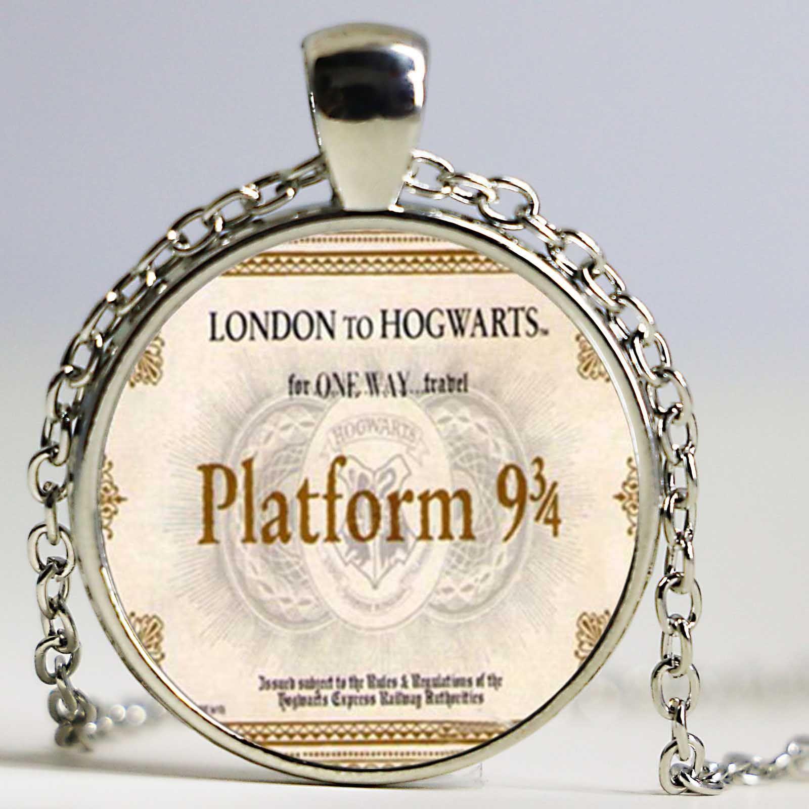 책 쥬얼리, LONDON TO HOGWARTS 익스프레스 열차 티켓 플랫폼 9 및 34 유리 펜던트, 플랫폼 9 케이스 43 펜던트 목걸이