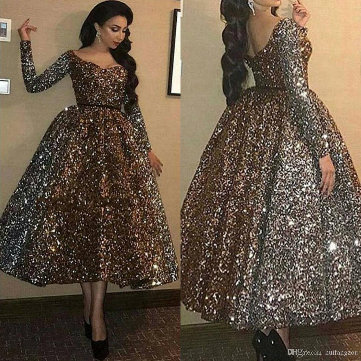 Abendkleider Sparkly Prom Dresses Glitter Sequined V Neck Tea Length Long  Sleeve Evening Dress Dubai Formal Party Gowns Vestidos
