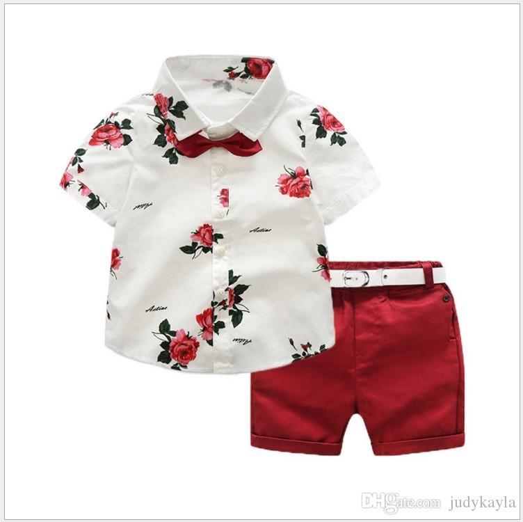 2019 Summer Baby Boys Clothing Sets Short Sleeve Floral Printing Shirt+Shorts+Bowtie+Belt 4pcs Set Boy Gentleman Suit Kids Outfits 90-140CM