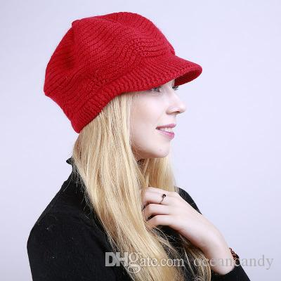 Color Winter Warm Hats For Woman Thick Knitted Peaked Caps Lady Elegant Rabbit Beanies Hat Fashion Bonnet Soft Knit Cap
