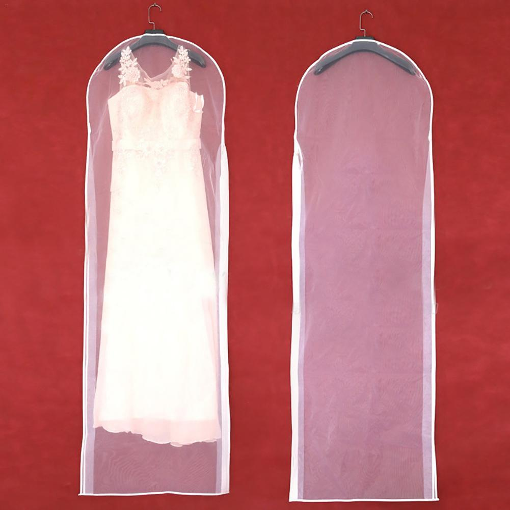 Garment Dress Cover Transparent Wedding Bridal Dress Clothes Suit Coat Dust Cover With Zipper For Home Wardrobe Gown Storage Bag
