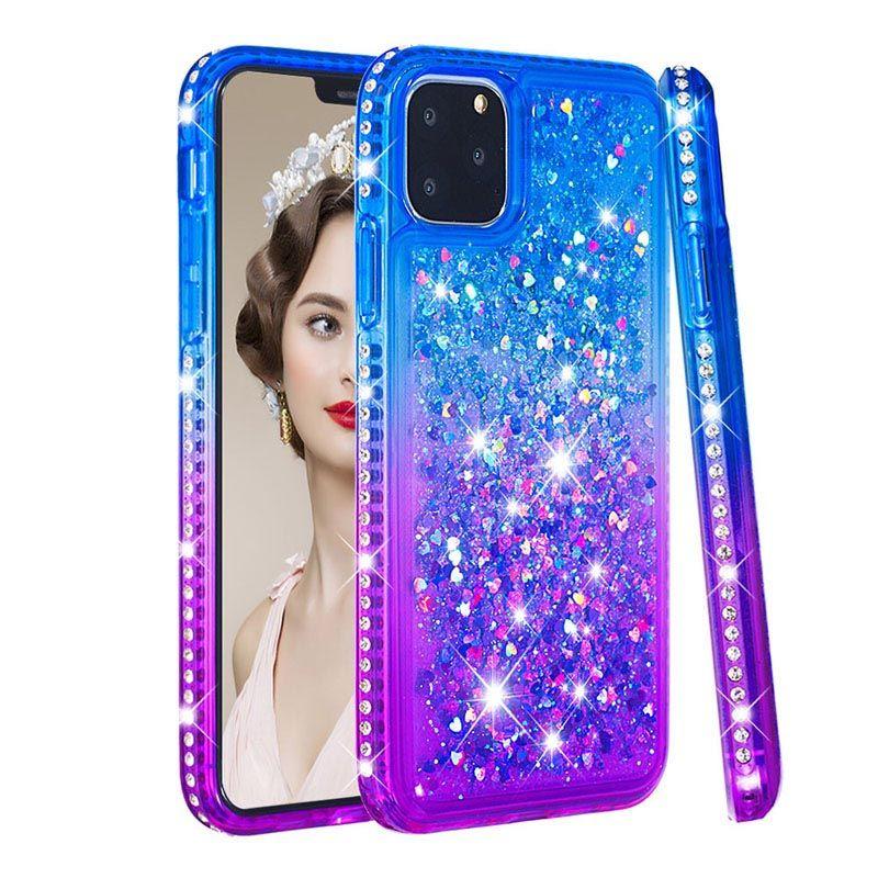 Luxus-Metallic Treibsand weicher TPU Fall für iphone 11 12Mini Pro Max XS XR 8 7 6S Plus-SE Herz Gradient Verchromte Bling Flüssiges Plating-Abdeckung