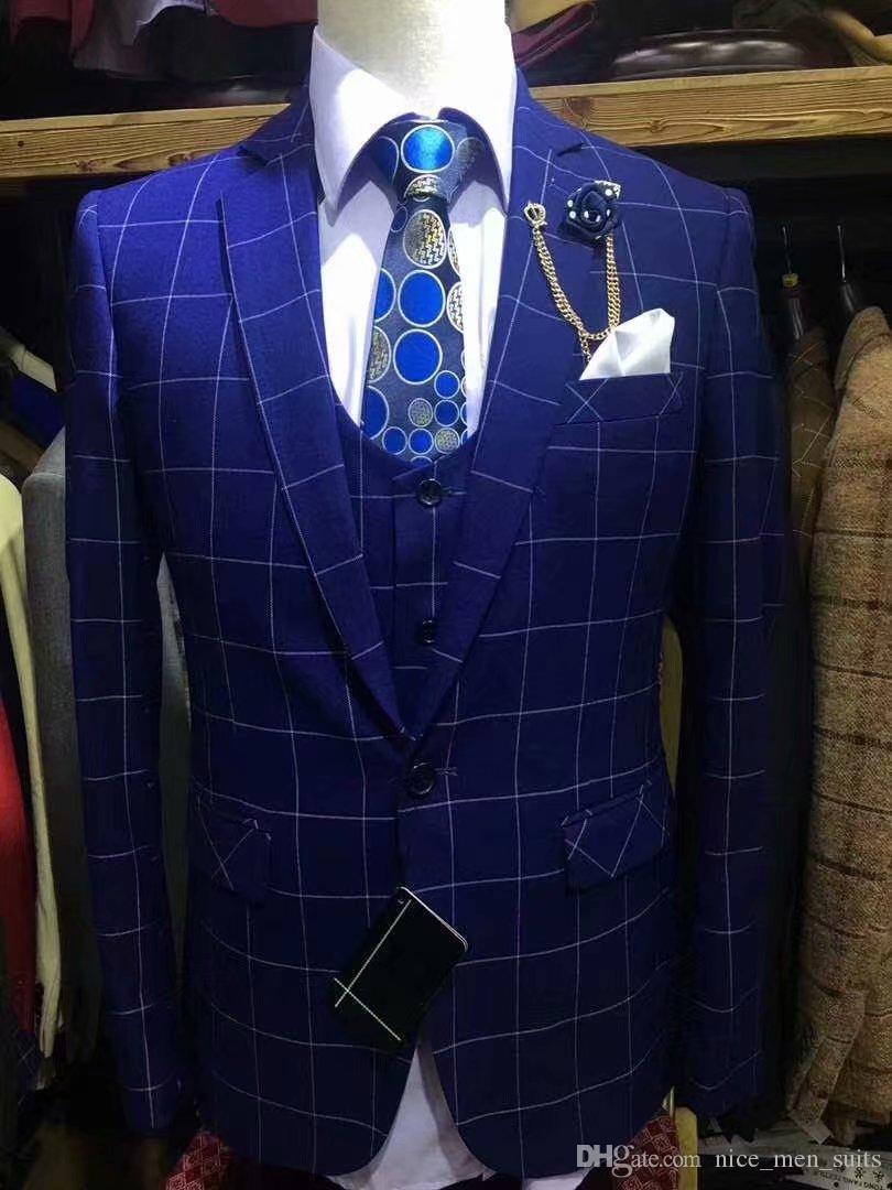 neue blaue mode plaid Männer Anzug Slim Fit 3 Stücke Smoking Bräutigam Groomsman männer passt für hochzeit ternos para hombre kingsman blazer sets