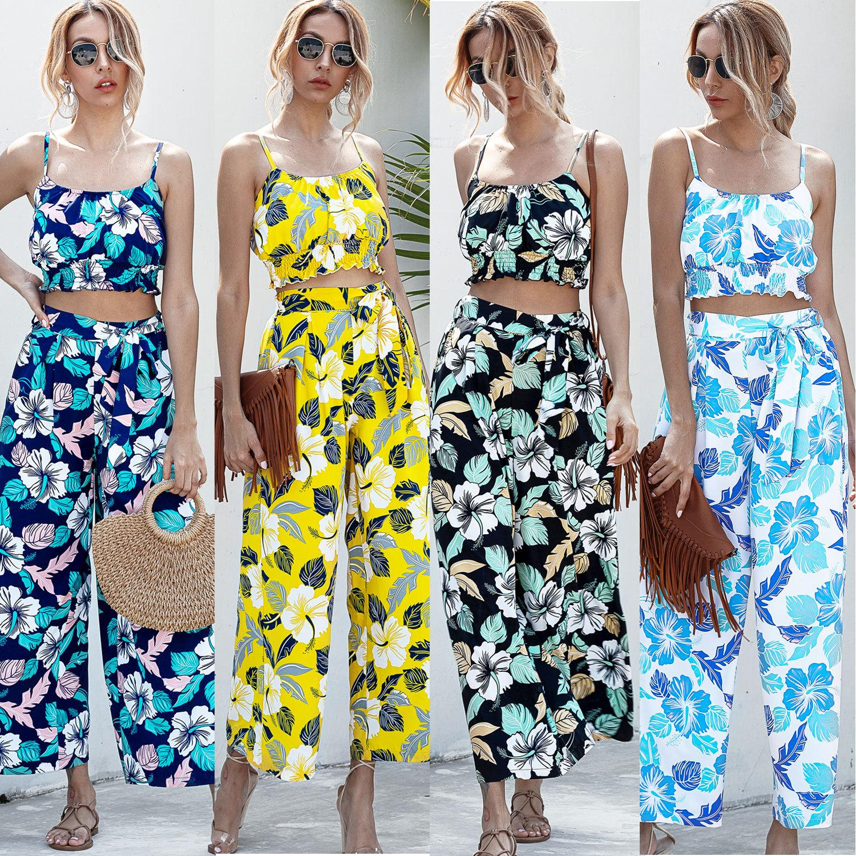 2020 nuevas ropa de mujer primavera verano otoño establecer flor sin mangas impresa traje de dos piezas con las ligas top + pantalones