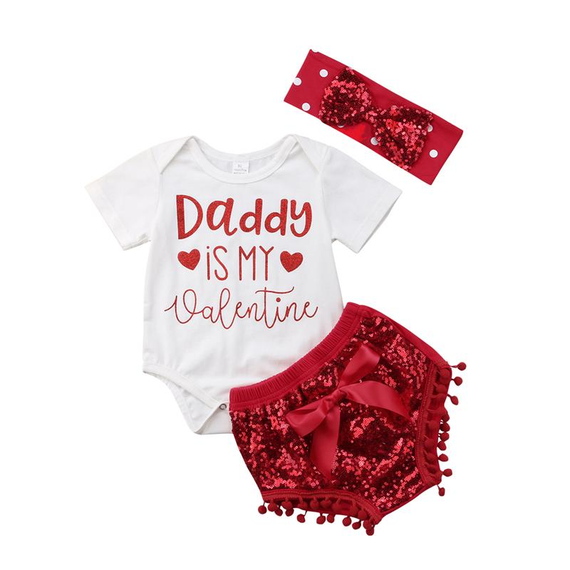 CANIS 2019 New Daddy is my valentine Newborn Baby Girl Short Sleeve Cotton Romper Tops Shorts Headband Outfits Clothing Set