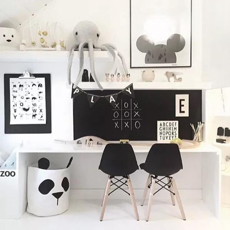Panda Storage Bag Basket Baby Kids Toy Clothes Canvas Laundry Basket Storage Bag Can Stand Nappy Bin Home Storage Bucket