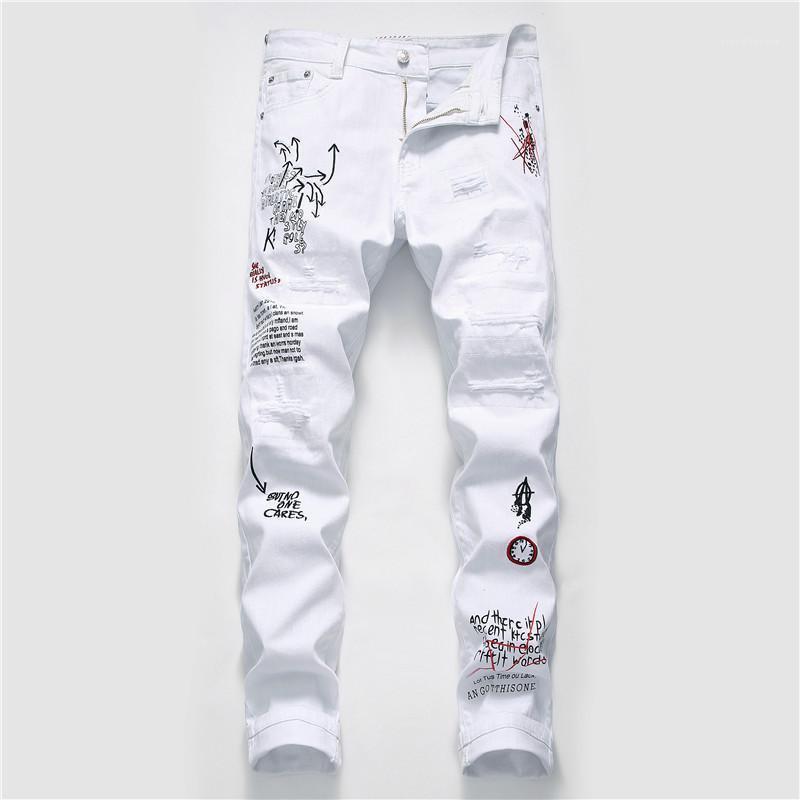 Buracos homens jeans moda rasgado lavado graffiti imprimir mens bicicleta jeans casual zíper mosca machos roupas