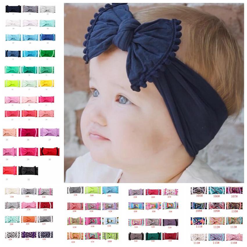 Bebek Kız Naylon Bantlar Süper Yumuşak Elastik Pamuk Naylon Bantlar Düğüm Yay Türban Nokta Saç Aksesuarları Saç Bandı 124 renkler KKA6845