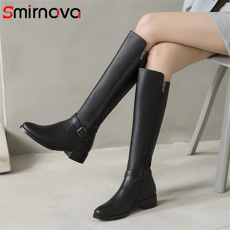 Smirnova 2020 Newest knee high boots women genuine leather shoes round toe buckle zip square heels autumn winter boots woman