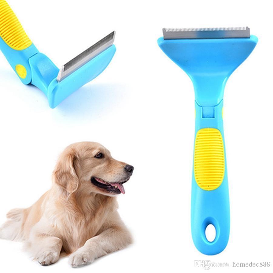 Venta al por mayor de acero inoxidable Práctico Multifuncional Simple Nudo Abierto Peine Plástico Mango antideslizante Ajustable Pet Dog Pet Aseo DH0629