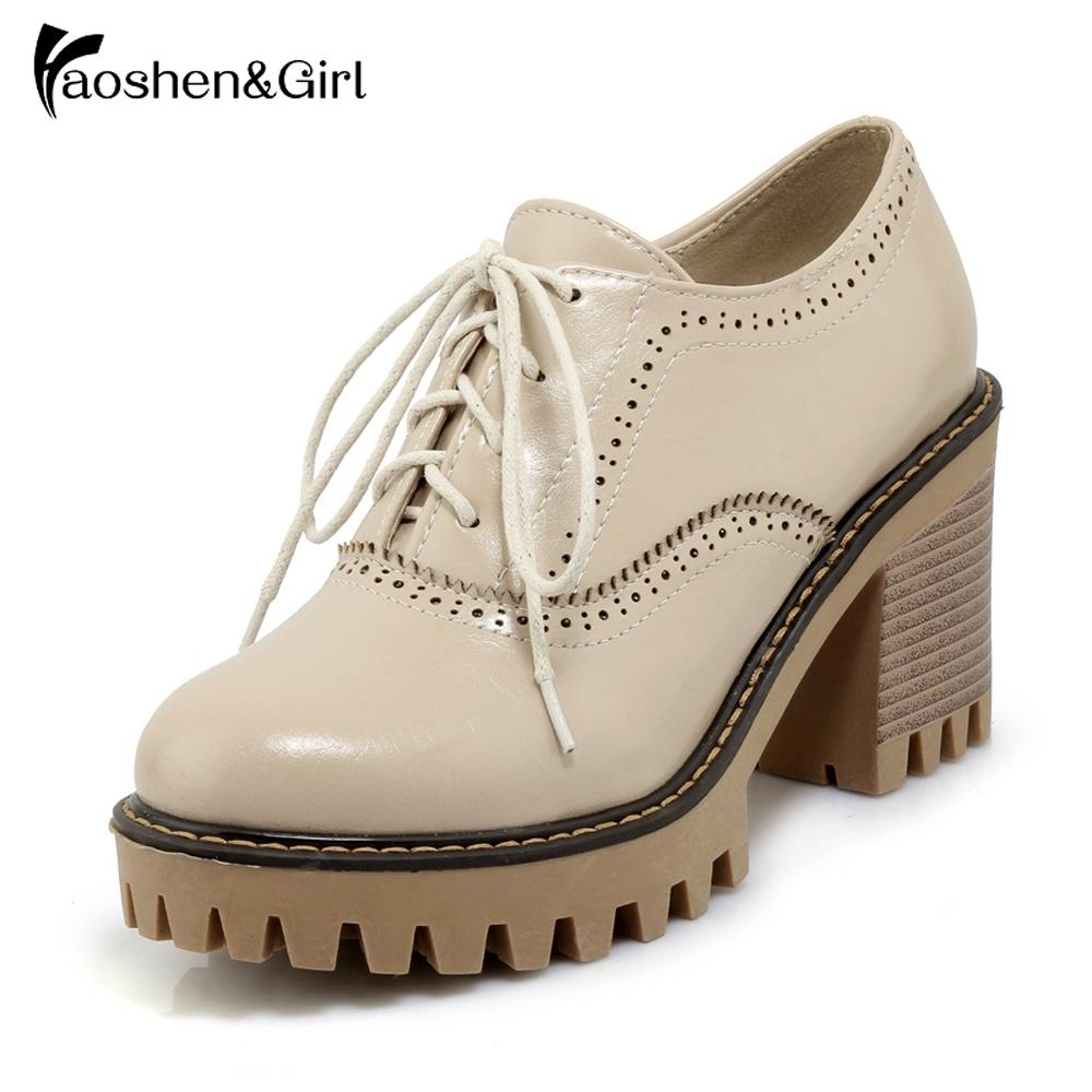 Haoshen&Girl Women High Heels British Oxford Shoes Woman Lace-up Carving Bullock Creepers Preppy Leather Shoes Size10.5 32-43