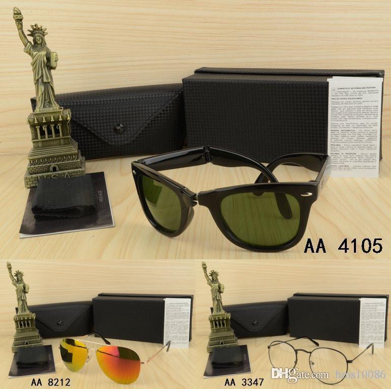 Marca de fábrica con estilo estrella, diseño de lujo para mujer, hombres, mujeres, gafas de sol plegables con una caja original, lentes y dobladillos al aire libre.