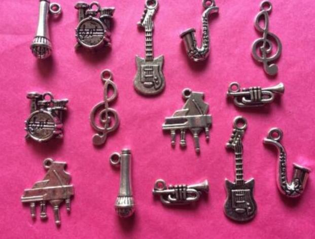 Musical Instruments Charms Pendant Piano Guitar Mixed Themes Vintage Silver For Bracelets Jewelry Making Beads Crafts DIY Accessories 160PCS