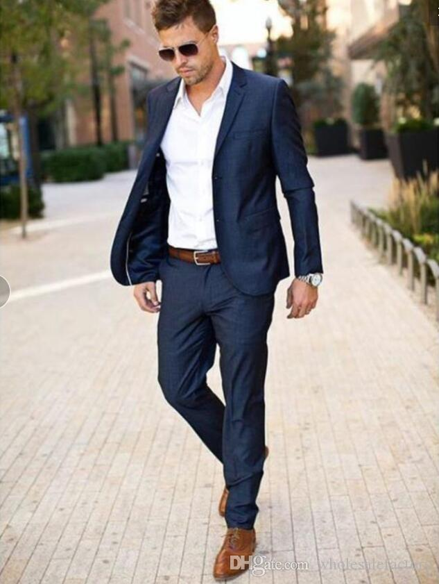 708e95f56 Compre Azul Marino Traje De Hombre 2018 Traje De Novio De Moda Trajes De  Boda Para Hombre Slim Fit Groom Tuxedos Para Mejor Hombre Chaqueta + ...