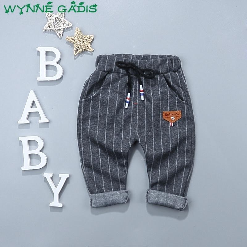 Herbst Baby Jungen Striped Print Lässige Tunnelzug Hosen Kinder Ganzkörperansicht Hosen Roupas De Bebe Y190529