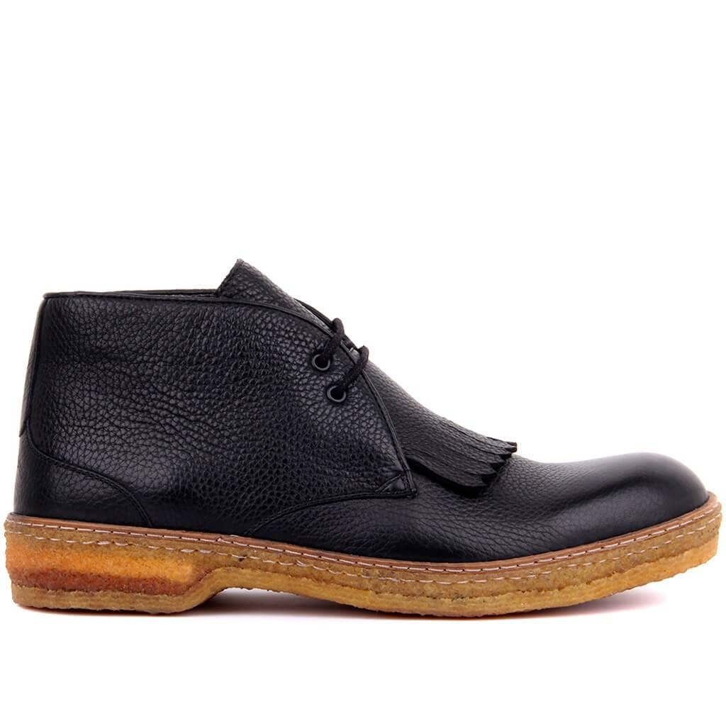Sail-Lakers Black Leather Lace-Up Men Boots