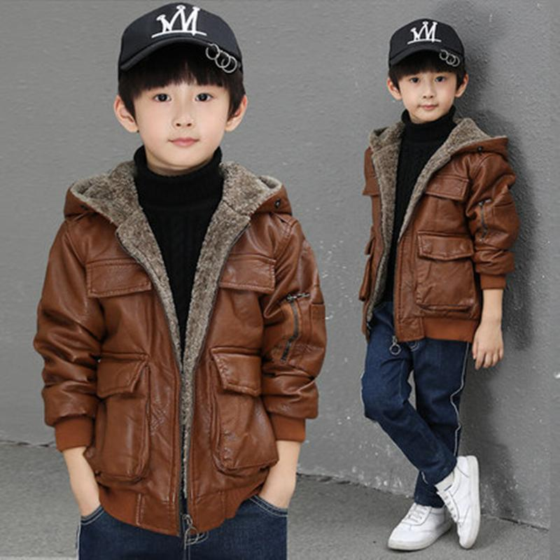 Baby Boys Winter Jacket Thick Velvet PU Coat Warm Kids Outwears Fashion Coat