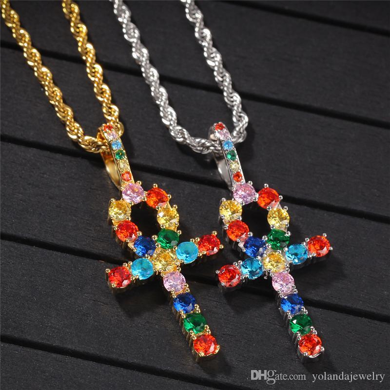 Ожерелье Красочные CZ ключ Крест Высокое качество Желтый Белый позолоченный Полный Мужчины Женщины Nice подарок