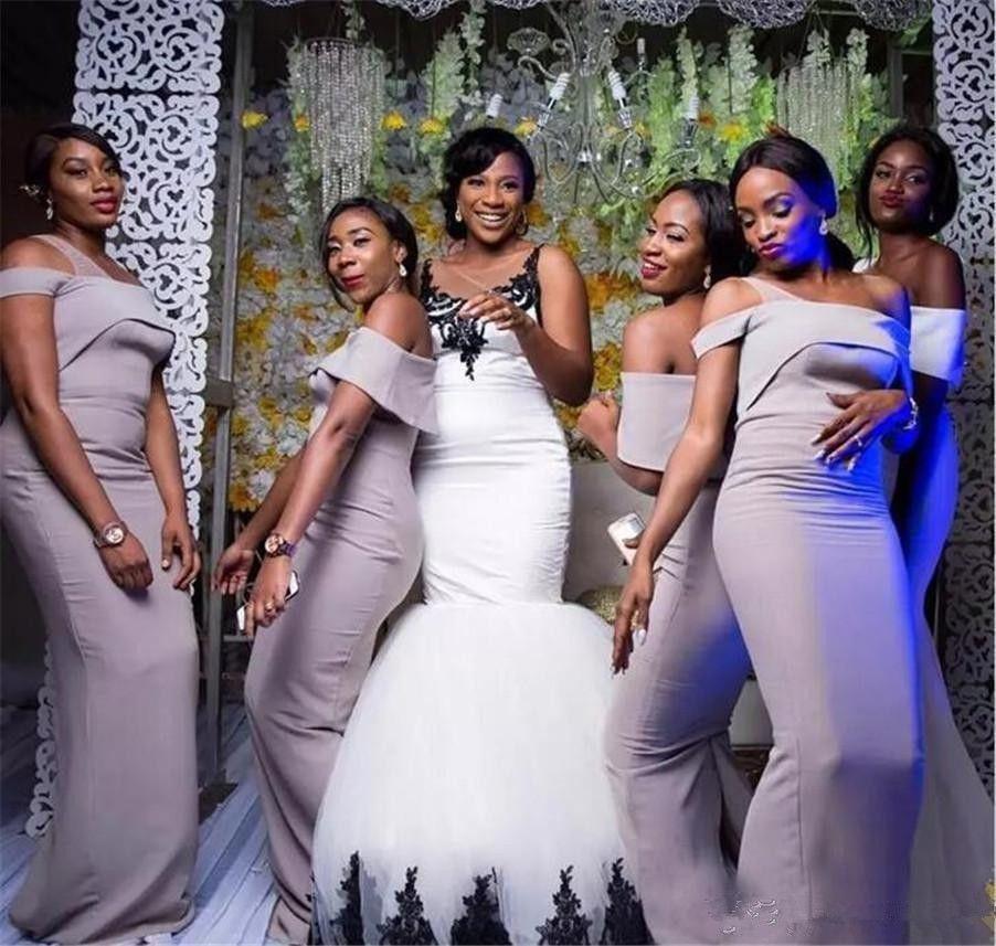 Vintage Black and White Mermaid Brautkleider 2019 Tradition Süd Afircan Nigerian Schloss Trompete Garden Brautkleider New Brautkleid