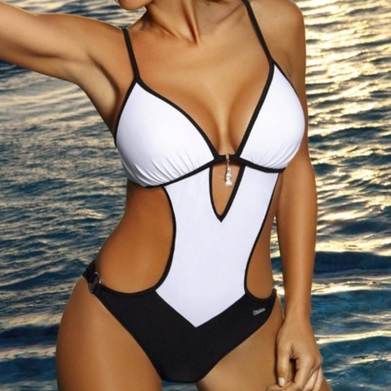 Sexy Slim Fit One Piece Swimsuit Large Size Swimwear Women Push Up Swimsuits Body 2019 Female Beach Wear Bathing Suit Bather XXL