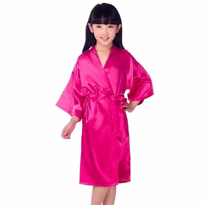 mince robe cardigan nightgown de soie torsadée enfants plaine été imitant des vêtements de soie à la maison des enfants chemise de nuit pyjamas