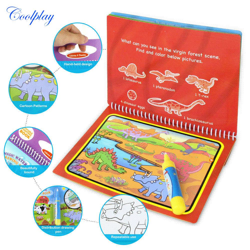 COOLPLAY Magic Water Drawing Book Coloring Book Doodle &Amp; Magic Pen  Painting Drawing Board For Kids Toys Birthday Gift Color Books For  Preschoolers ...