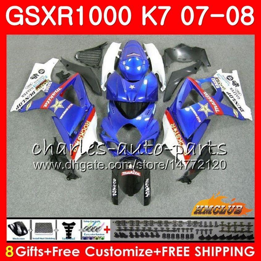 Suzuki GSXR-1000 GSXR1000 2008 2008 07 08 Bodys 12HC.48 GSX R1000 GSX-R1000 K7 GSXR 1000 07 08 공장 블루 핫 ABS 페어링 키트