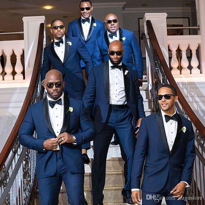 Marine-Blau-Anzüge für Bräutigam-Hochzeit Anzüge Mann Outfit Terno Masculino Herren Outfits Heimkehr-Partei 2Piece Slim Fit Kostüm Homme Mariage