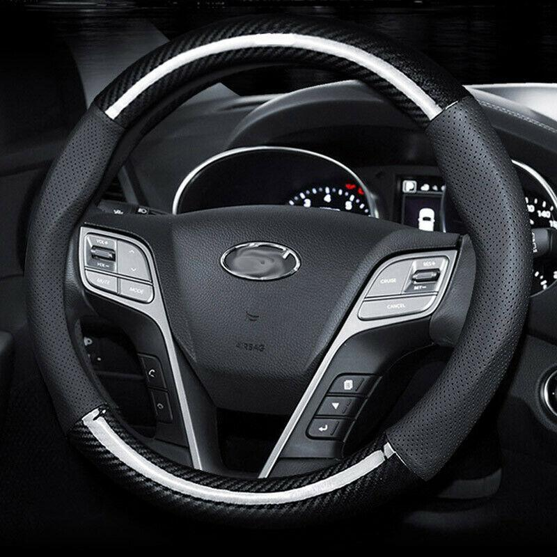 Respirante en cuir noir en fibre de carbone volant de voiture couverture pour Hyundai