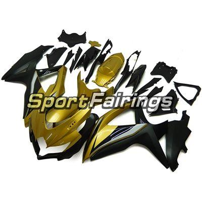 Fairings للالكاملة لسوزوكي GSXR600 K8 2008 2009 2010 GSXR750 08 09 10 ABS البلاستيك العمل للدراجات النارية هدية طقم الجسم أسود لامع الذهب