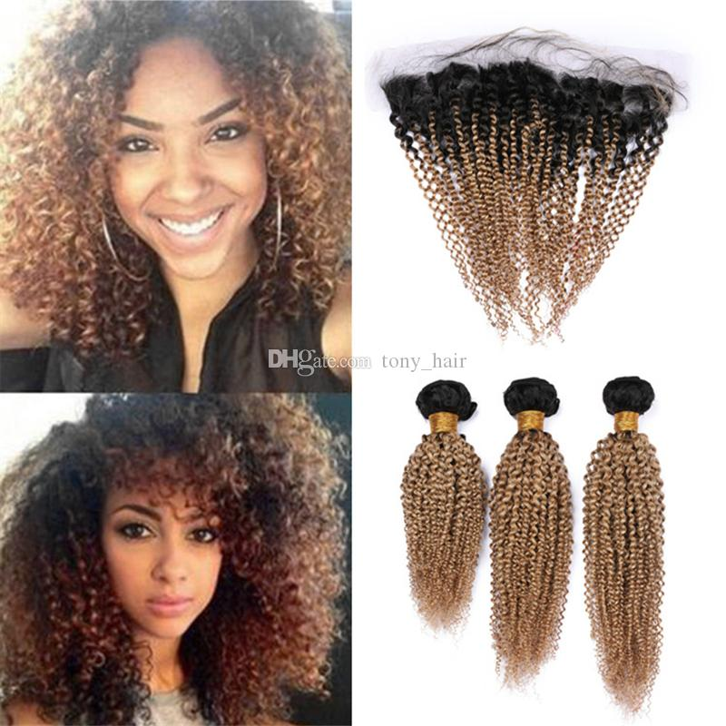 Kinkys Curly Two Tone 1B/27 Honey Blonde Ombre Frontal and Bundles Dark Roots Light Brown Ombre Human Hair Weave and Frontals