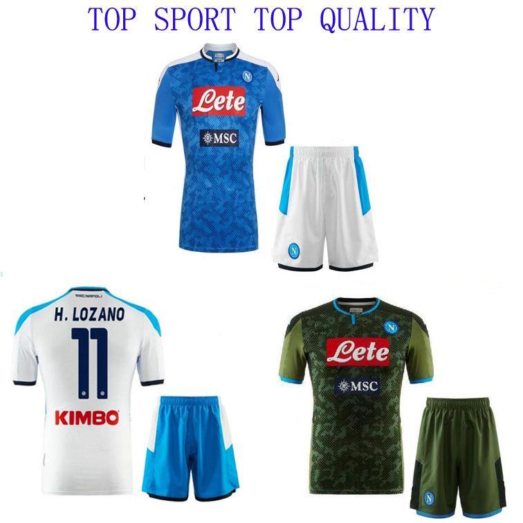 19 20 Napoli soccer jerseys shorts Home away 3RD soccer kits INSIGNE MERTENS LOZANO MILIK shirts Naples football sets Mens soccer uniforms