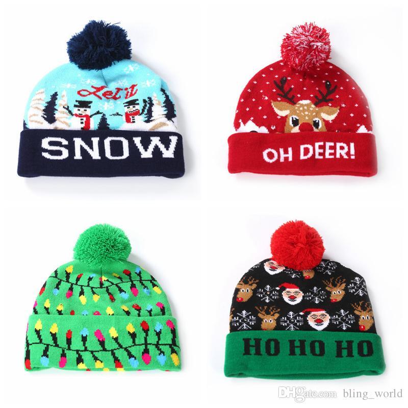 Kids Knitted Hat Christmas LED Hats Warm Crochet Winter Caps Xmas Light-up Beanies Hats Outdoor Light Pompon Ball Ski Cap YFA448