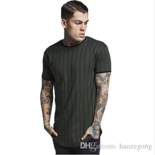Nuevo diseño Camisetas Hombre camiseta de manga corta a rayas O cuello Camiseta transpirable High street Slim camiseta hombres