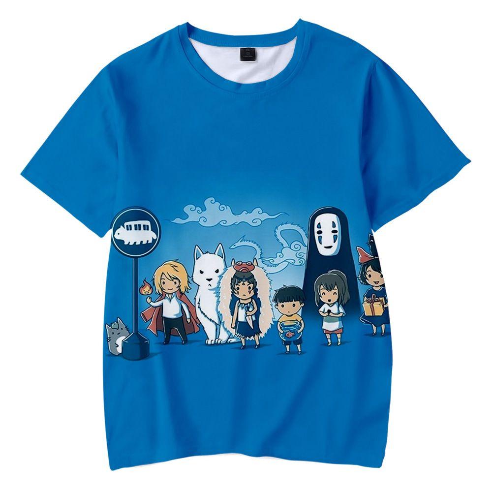 Geist weg scherzt T-Shirt Studio Ghibli Miyazaki Hayao 3D-T-Shirt Graphic Tees Jungen / Mädchen-Karikatur-lustiges T-Shirt-Kind-Kleidung