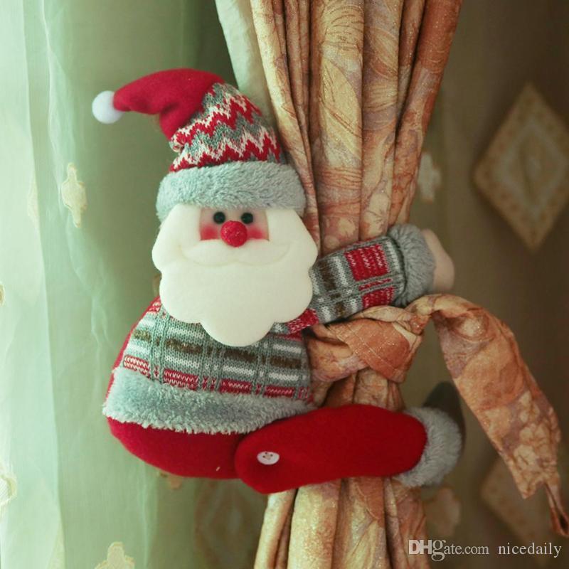 Санта-Клаус Элк Рождество занавес Декор Холодильник Ручка Охватывает Микроволновая печь Посудомоечная машина дверные ручки сопроводительные Xmas украшения для дома подарок