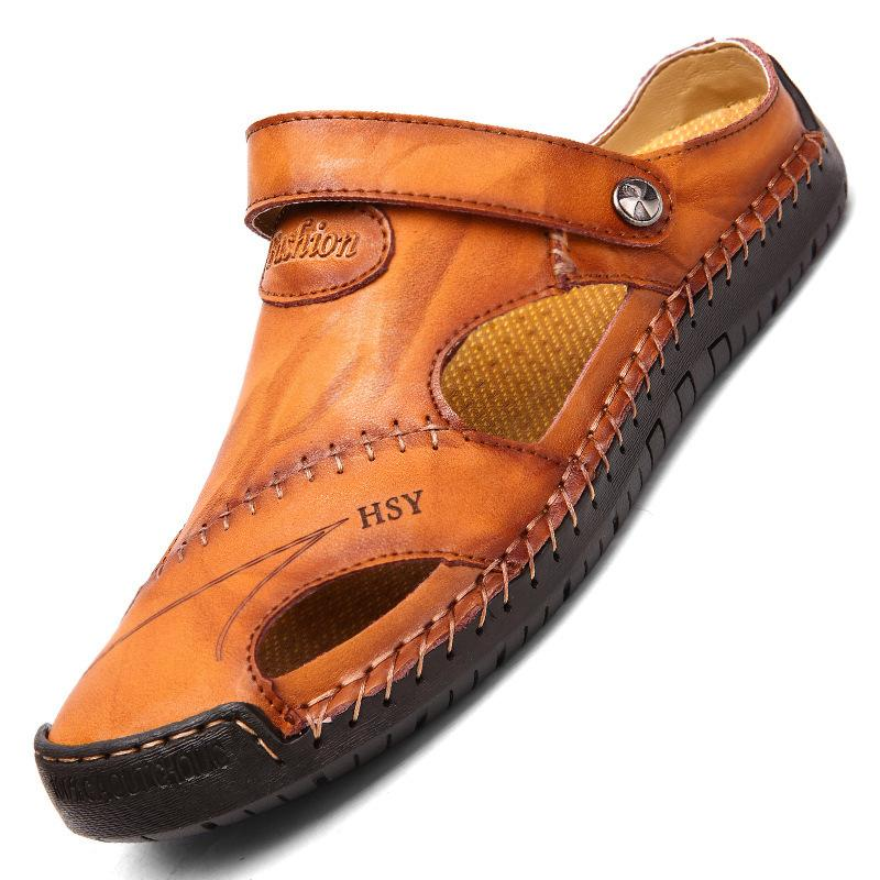 2019 neue männer Sommer Schuhe Freizeit Loch Echtes Leder Sandalen Modemarke Halbhausschuhe Flip-Flops rutschfeste Strand Schuhe 2A