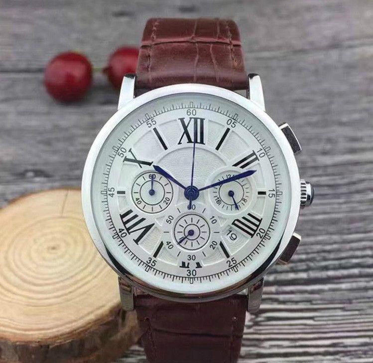 달력 가죽 스트랩 남성으로 스톱워치 명품 남성 시계를 작업하는 모든 다이얼은 남성 높은 품질 최고의 선물을위한 브랜드 석영 손목 시계를보고