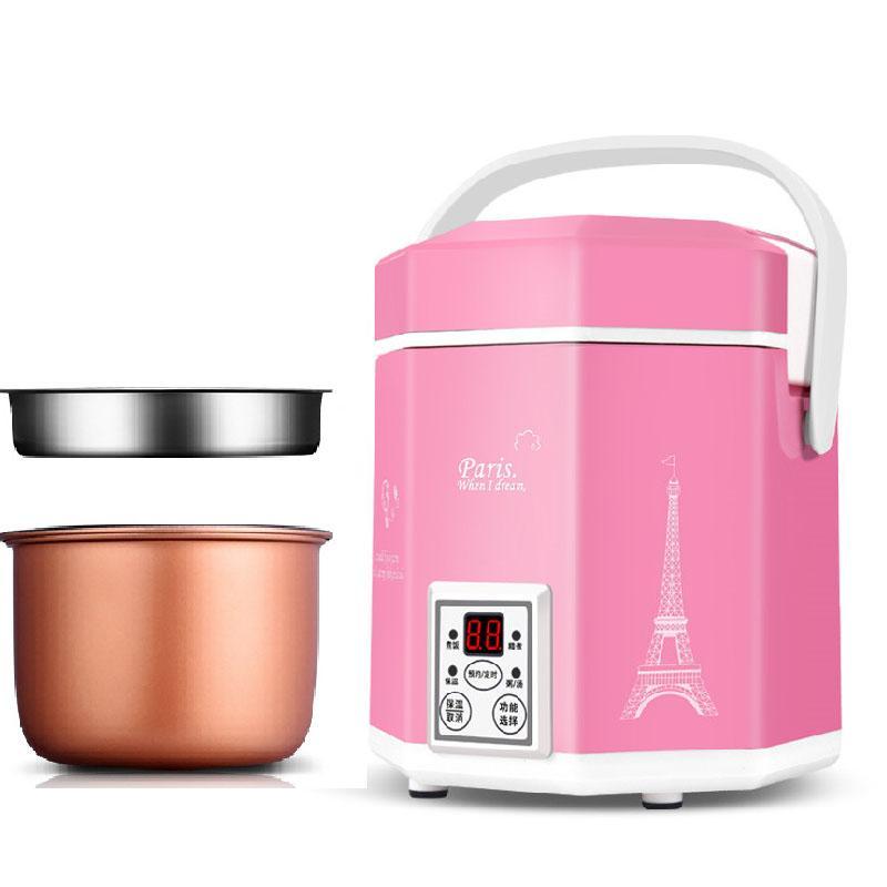Household 1.2L Mini Rice Cooker Pequenas 2 camadas Steamer Panela Elétrica de isolamento Aquecimento Fogão