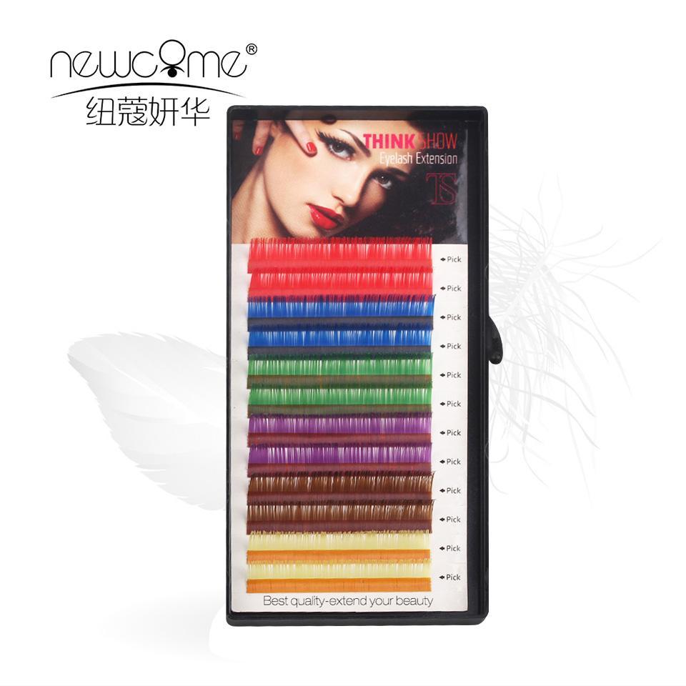 THINKSHOW 12 Filas / Color de la caja de seda extensión de la pestaña de alta calidad individual extensión de la pestaña del maquillaje herramientas de belleza.