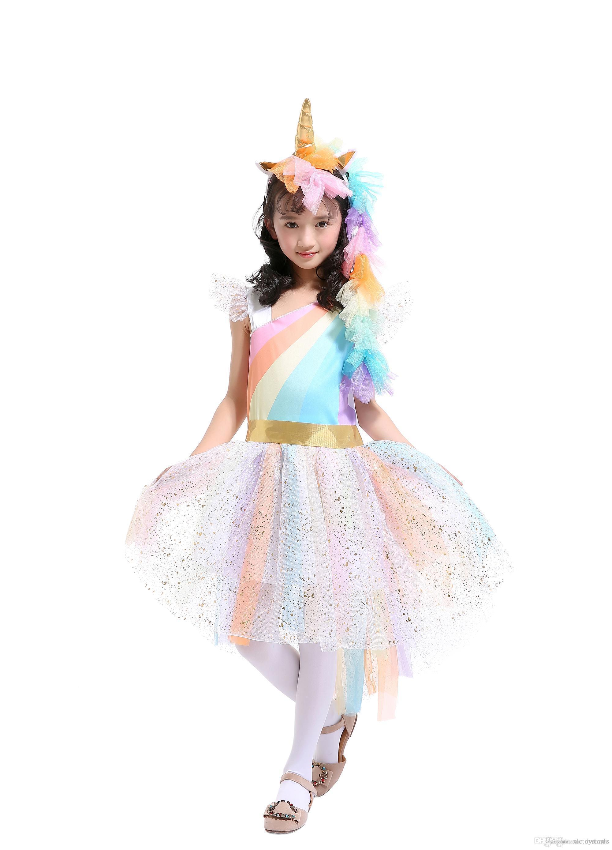 Unicorn Princess Tutu Dress Suits with 1 Unicorn Corn Headband+1 Golden Wings Cosplay Clothing Girls Stage Performance Dresses