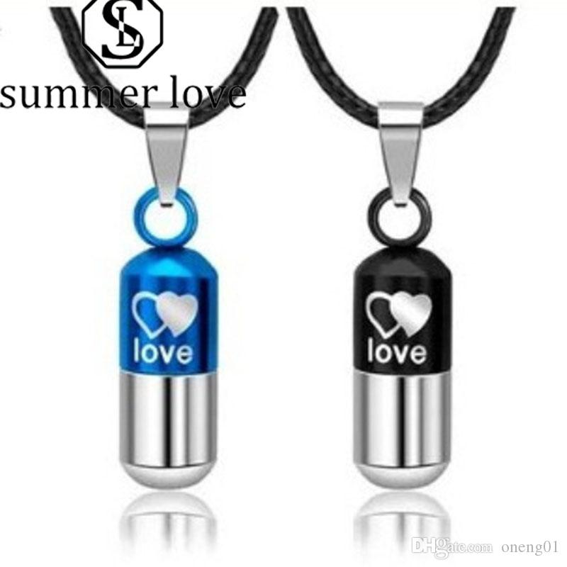 Capsule Pill Pendant Necklace Classic Couple Pendant Necklaces Space Popular Stainless Steel Leather Necklace Valentine's Day Gift