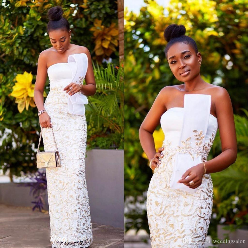 Stunning Black Girl Lace Prom Dresses Long Strapless Neck Sheath Formal Dress White Floor Length Evening Gowns