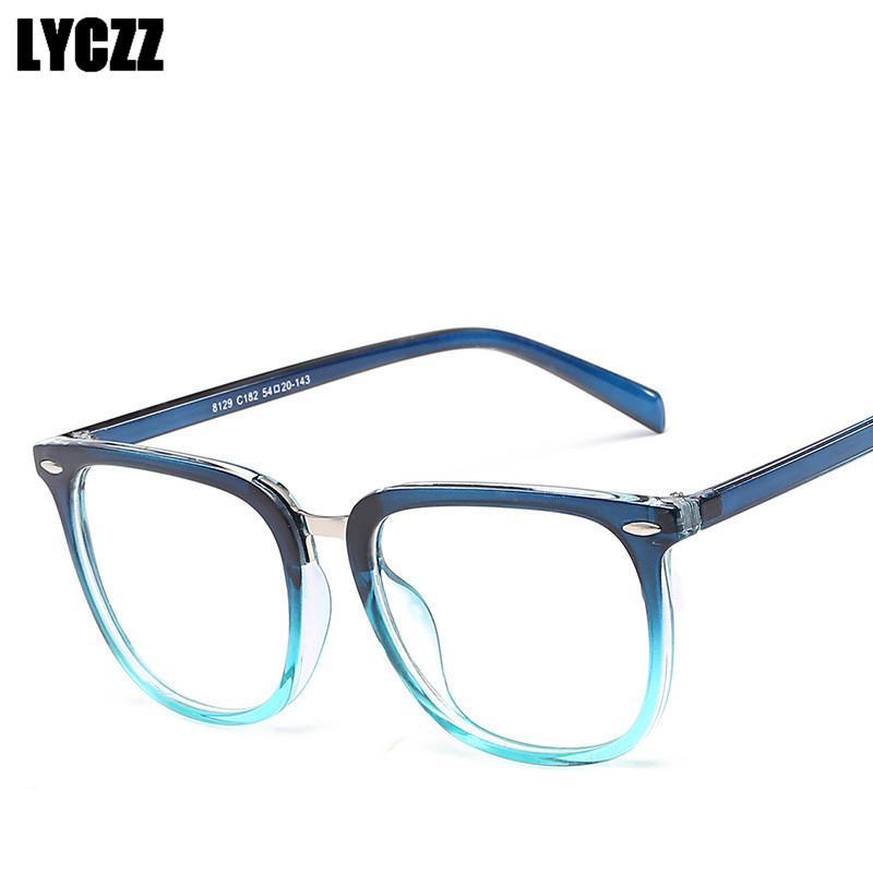 All'ingrosso-LYCZZ Student blu di modo Plain Occhiali vintage frame spettacolo framcal montatura degli occhi di vetro di marca delle donne degli uomini di Eyewear PC Tag