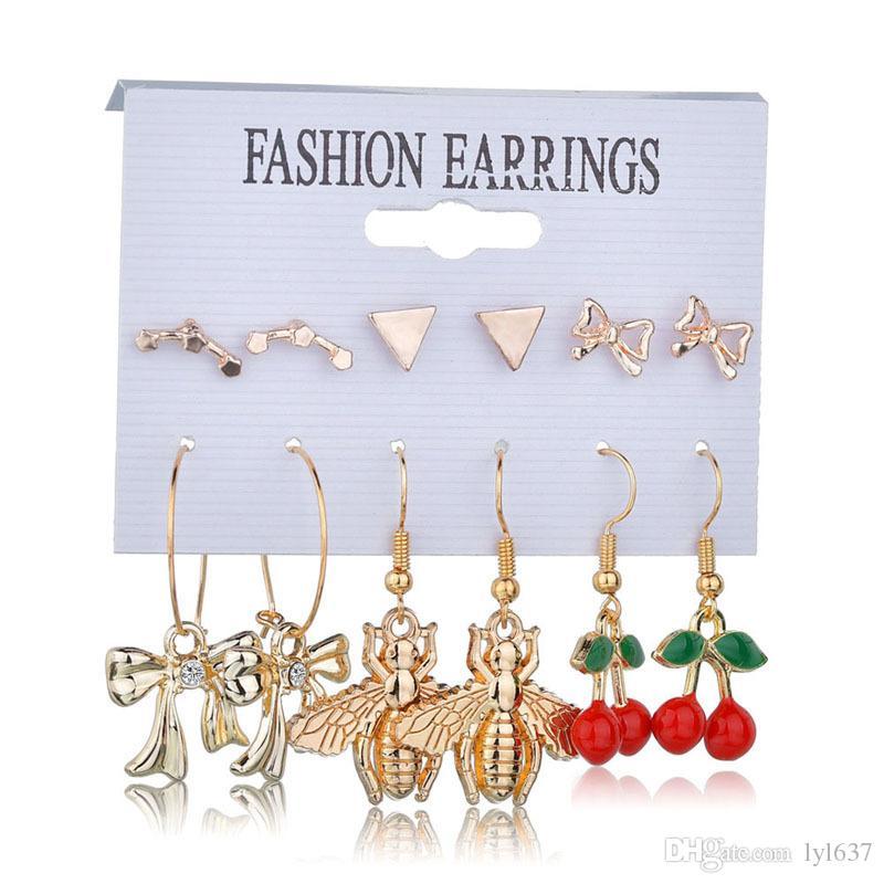 NUOVO Vintage Geometric Nappa Orecchini pendenti per le donne Oro Colore stella Cuore Fiore Dichiarazione Goccia orecchino Brincos gioielli