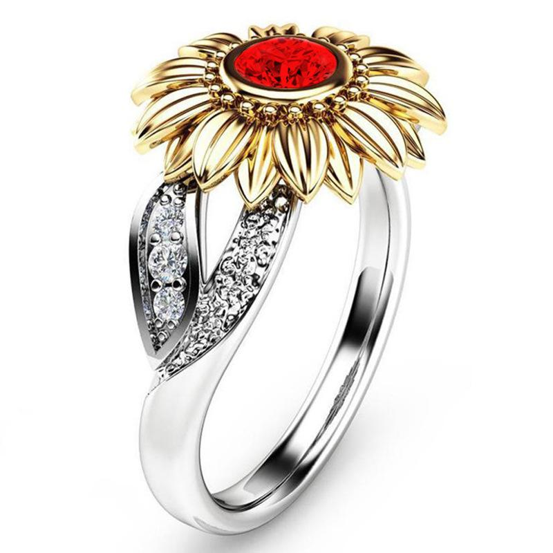 anillo multicolor lindo girasol de la nueva manera de las mujeres anillo de la flor fiesta de la boda joyería de regalo de cumpleaños