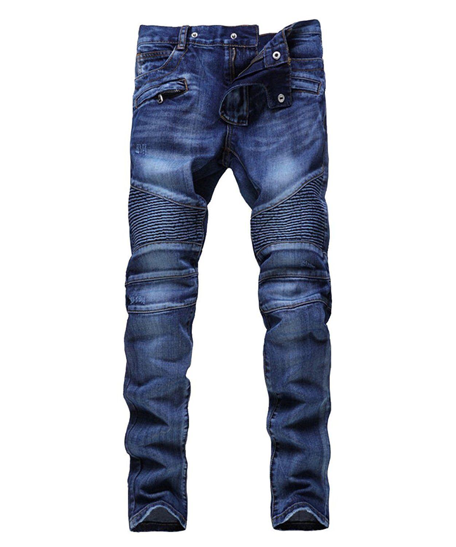 Marka Erkekler Sıkıntılı Yırtık Kot Moda Tasarımcısı Düz Motosiklet Biker Jeans Nedensel Denim Pantolon Sokak giyim Tarzı erkek Kot Serin