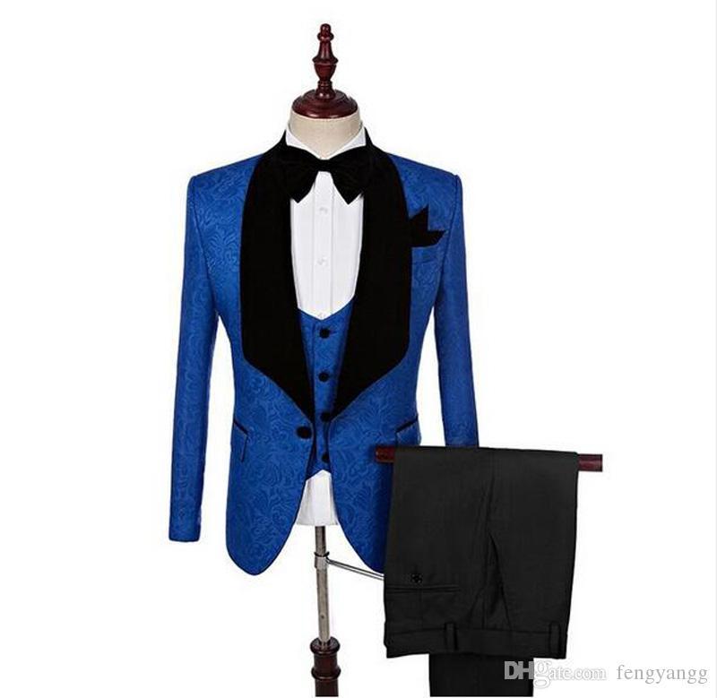 الأزياء الملكي الأزرق الأسود العريس البدلات الرسمية 3 أجزاء شال التلبيب الرجال دعوى بدلة الزفاف حفلة موسيقية البدلات الرسمية الدعاوى عالية الجودة (سترة + سروال + سترة)