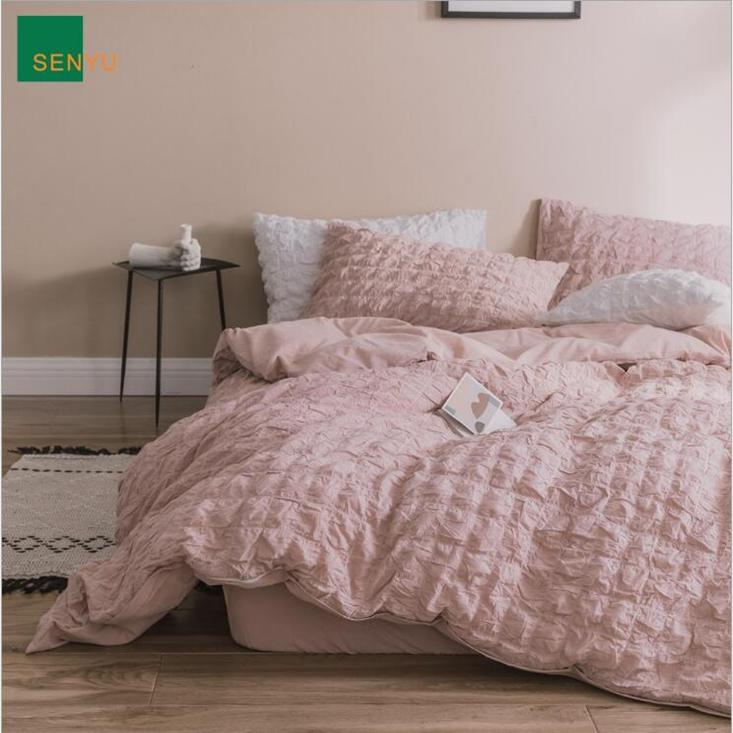 Puff Check Design Bedding Suit Quilt Cover 4 Pics Ruffles Duvet Cover High Quality Bedding Sets Bedding Supplies Home Textiles