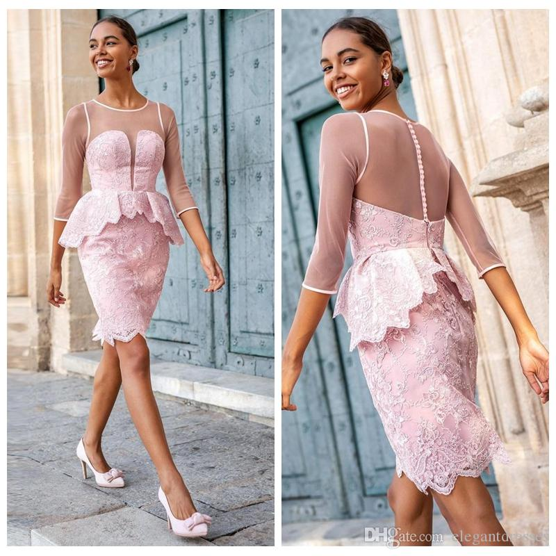 2019 Sheer Quarter Sleeves Sheath Lace Prom Dresses Short Knee Length Formal Vestidos De Soiree Cusotm Ladies Special Occasion Party Gowns
